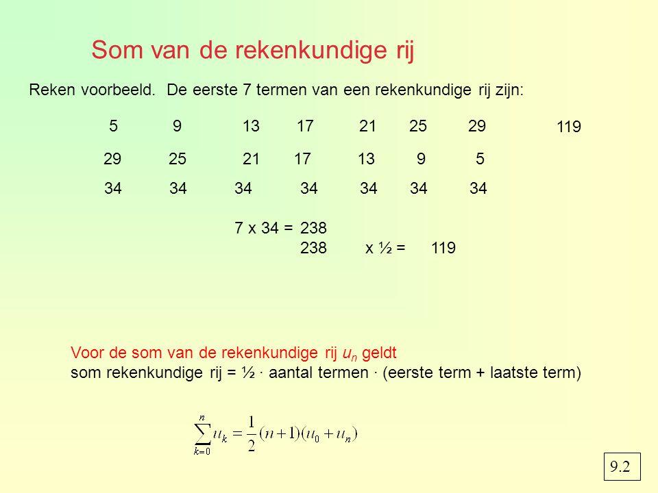 Som van de rekenkundige rij 9.2 Voor de som van de rekenkundige rij u n geldt som rekenkundige rij = ½ · aantal termen · (eerste term + laatste term) 591317212529 Reken voorbeeld.