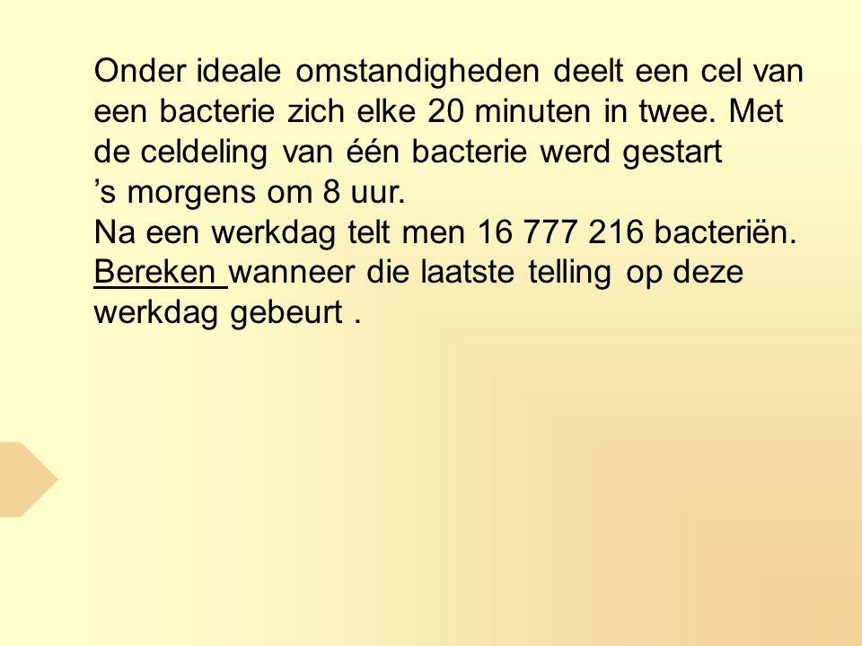 Onder ideale omstandigheden deelt een cel van een bacterie zich elke 20 minuten in twee. Met de celdeling van één bacterie werd gestart 's morgens om