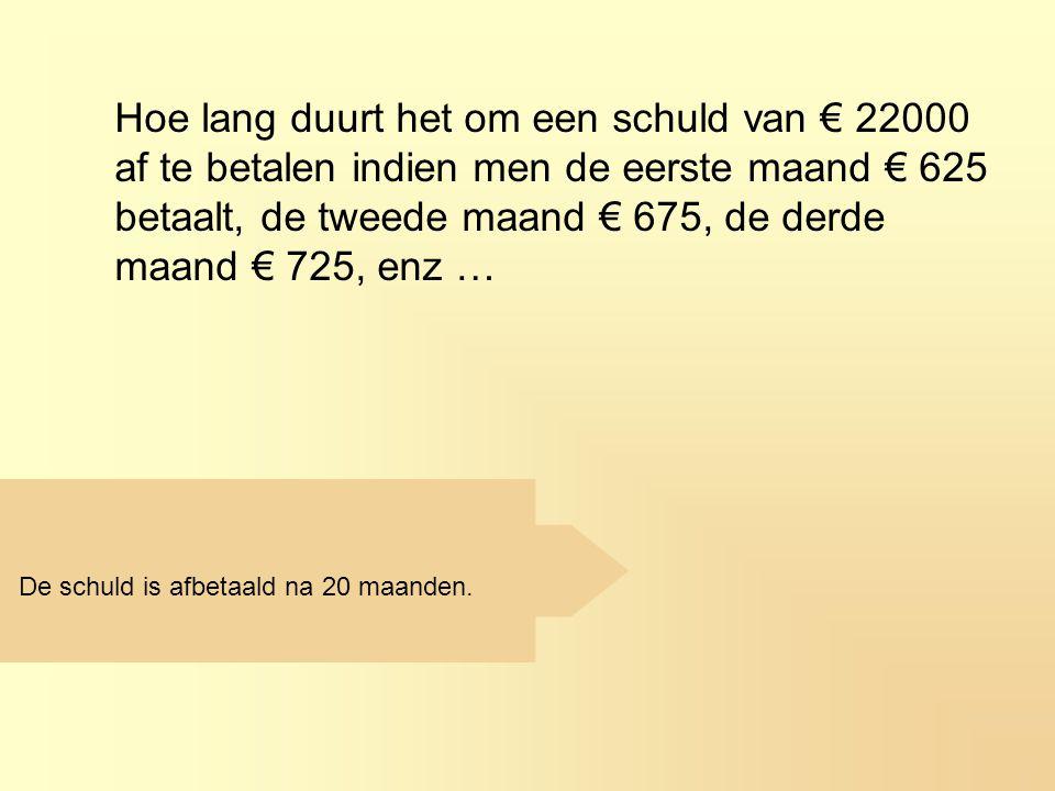 Hoe lang duurt het om een schuld van € 22000 af te betalen indien men de eerste maand € 625 betaalt, de tweede maand € 675, de derde maand € 725, enz