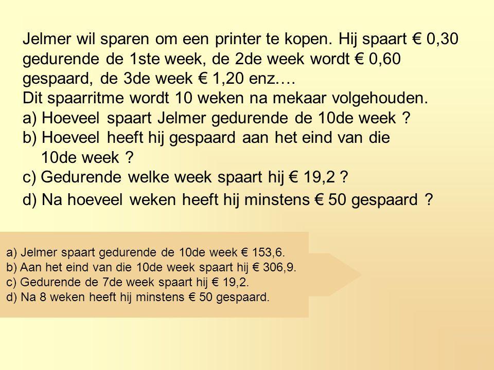 Jelmer wil sparen om een printer te kopen. Hij spaart € 0,30 gedurende de 1ste week, de 2de week wordt € 0,60 gespaard, de 3de week € 1,20 enz…. Dit s