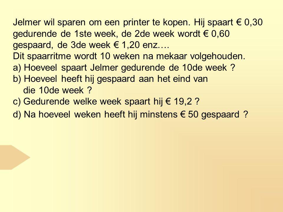 Jelmer wil sparen om een printer te kopen.