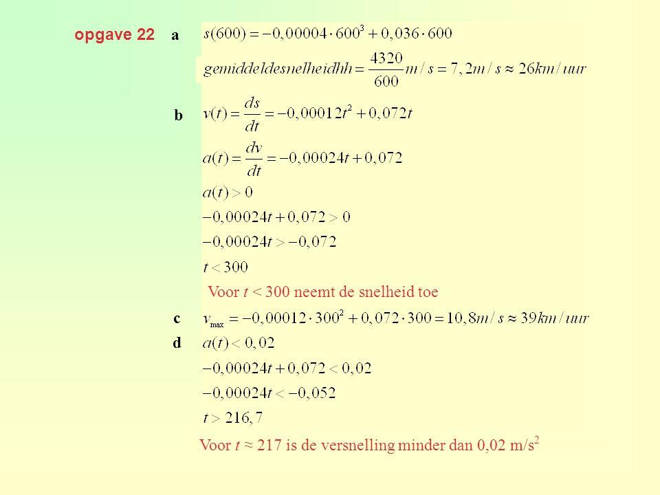 Voor t ≈ 217 is de versnelling minder dan 0,02 m/s 2 geeft gemiddelde snelheid = geeft opgave 22 a b c d Voor t < 300 neemt de snelheid toe