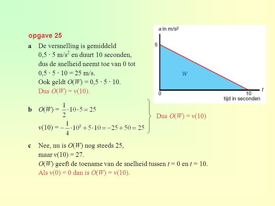 opgave 25 aDe versnelling is gemiddeld 0,5 · 5 m/s 2 en duurt 10 seconden, dus de snelheid neemt toe van 0 tot 0,5 · 5 · 10 = 25 m/s. Ook geldt O(W) =