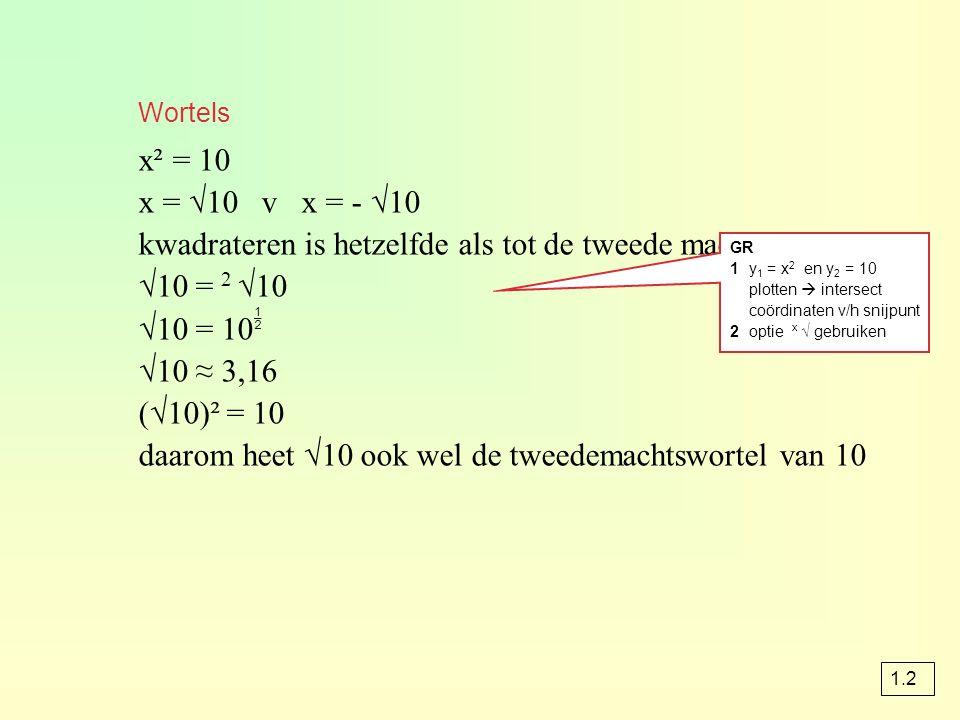 Wortels x² = 10 x = √10 v x = - √10 kwadrateren is hetzelfde als tot de tweede macht verheffen √10 = 2 √10 √10 = 10  √10 ≈ 3,16 (√10)² = 10 daarom he