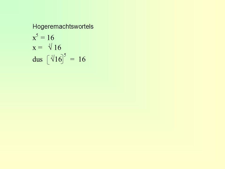 Hogeremachtswortels x 5 = 16 x = √ 16 dus √16 5 = 16 5 5