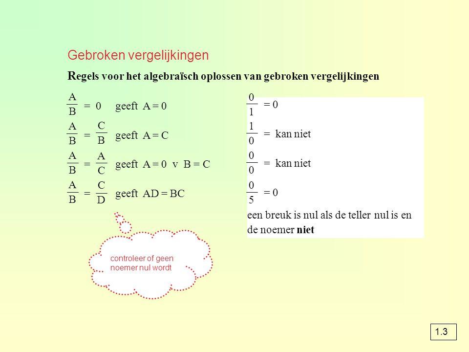 Gebroken vergelijkingen R egels voor het algebraïsch oplossen van gebroken vergelijkingen = 0 geeft A = 0 = geeft A = C = geeft A = 0 v B = C = geeft