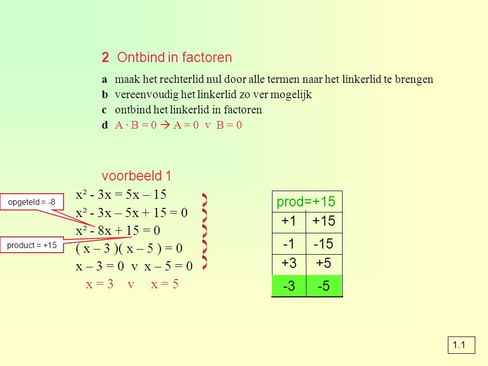 opgave 52 y = ax² + c gaat door de punten (1, 8) en (2, 17) (1, 8) invullen geeft 8 = a · 1² + c 8 = a + c a + c = 8 (2, 17) invullen geeft 17 = a · 2² + c 17 = 4a + c 4a + c = 17 a + c = 8 4a + c = 17 - -3a = -9 a = 3 : -3 invullen a + c = 8 a = 3 3 + c = 8 c = 5 - 3 dus a = 3 en c = 5 y = 3x 2 + 5 elimineren door aftrekken