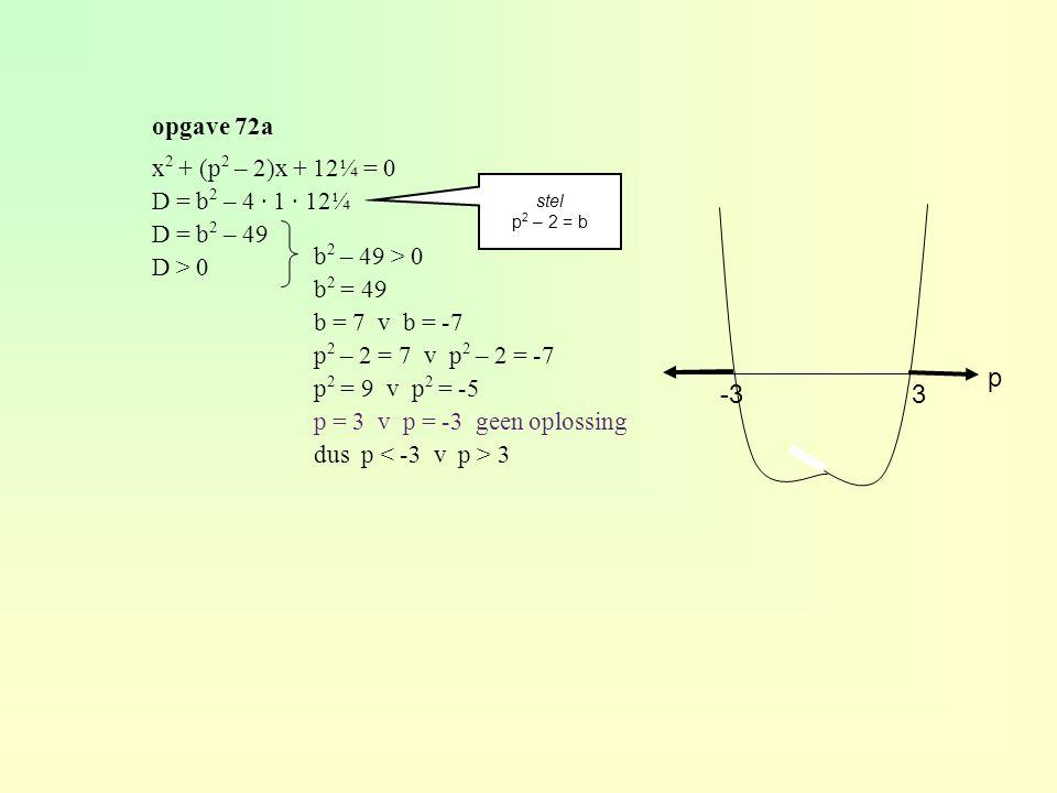 opgave 72a x 2 + (p 2 – 2)x + 12¼ = 0 D = b 2 – 4 · 1 · 12¼ D = b 2 – 49 D > 0 b 2 – 49 > 0 b 2 = 49 b = 7 v b = -7 p 2 – 2 = 7 v p 2 – 2 = -7 p 2 = 9