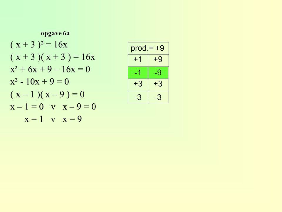 opgave 6a ( x + 3 )² = 16x ( x + 3 )( x + 3 ) = 16x x² + 6x + 9 – 16x = 0 x² - 10x + 9 = 0 ( x – 1 )( x – 9 ) = 0 x – 1 = 0 v x – 9 = 0 x = 1 v x = 9