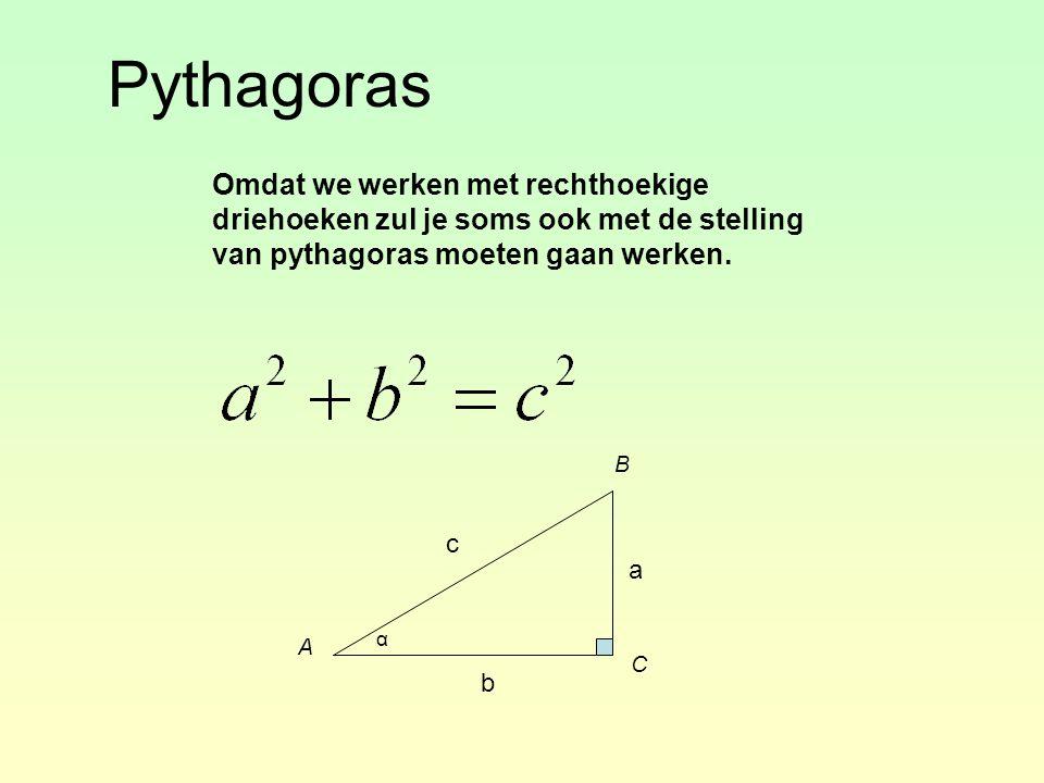 Pythagoras Omdat we werken met rechthoekige driehoeken zul je soms ook met de stelling van pythagoras moeten gaan werken. α A B C a b c
