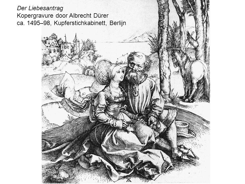 Der Liebesantrag Kopergravure door Albrecht Dürer ca. 1495–98, Kupferstichkabinett, Berlijn