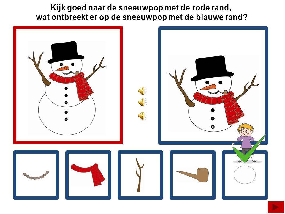 Kijk goed naar de sneeuwpop met de rode rand, wat ontbreekt er op de sneeuwpop met de blauwe rand?