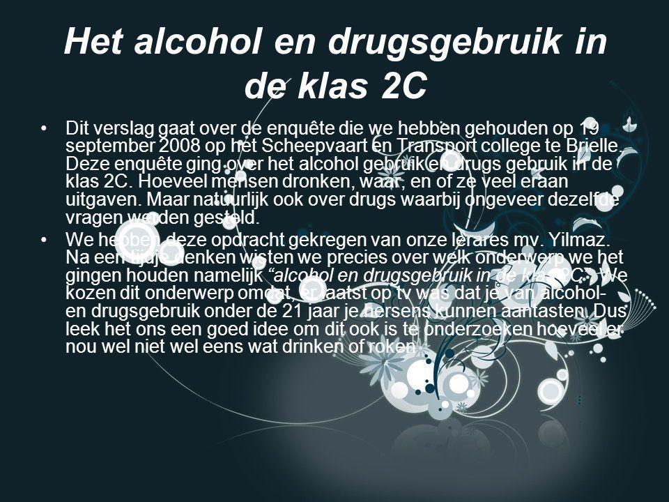 Het alcohol en drugsgebruik in de klas 2C Dit verslag gaat over de enquête die we hebben gehouden op 19 september 2008 op het Scheepvaart en Transport