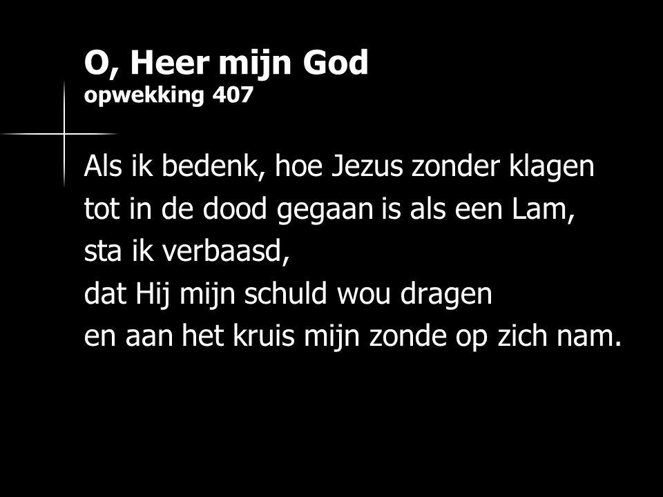 O, Heer mijn God opwekking 407 Als ik bedenk, hoe Jezus zonder klagen tot in de dood gegaan is als een Lam, sta ik verbaasd, dat Hij mijn schuld wou d