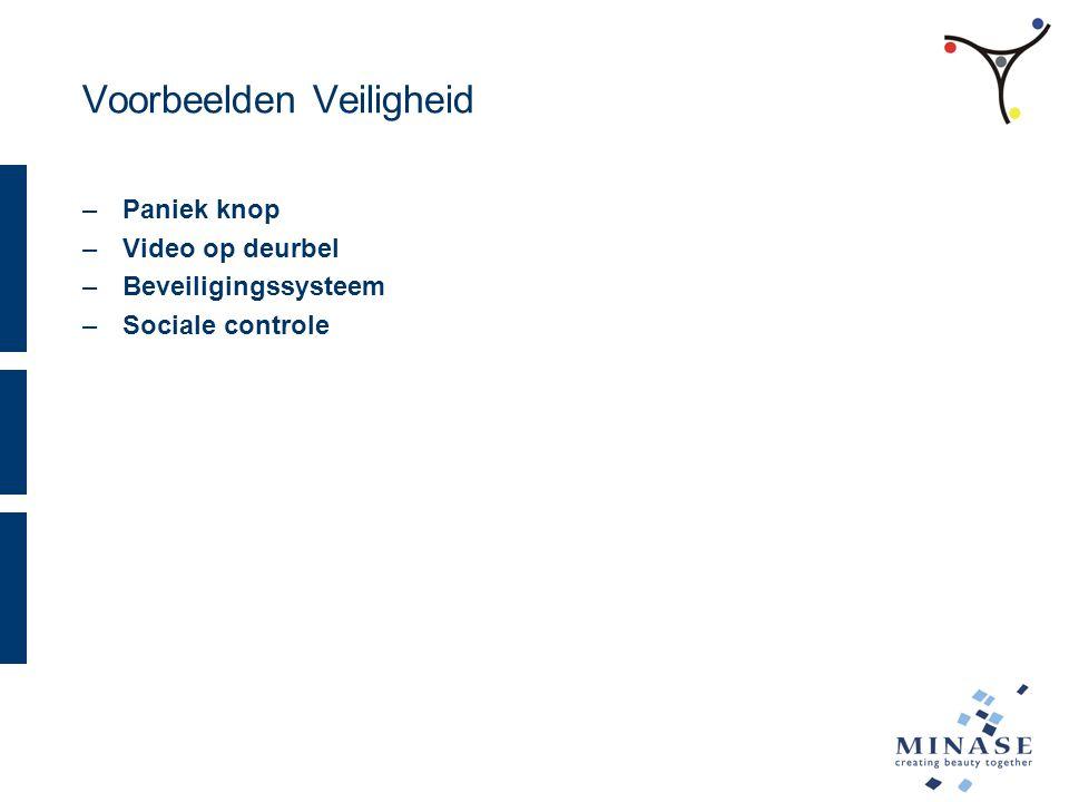 Voorbeelden Veiligheid –Paniek knop –Video op deurbel –Beveiligingssysteem –Sociale controle