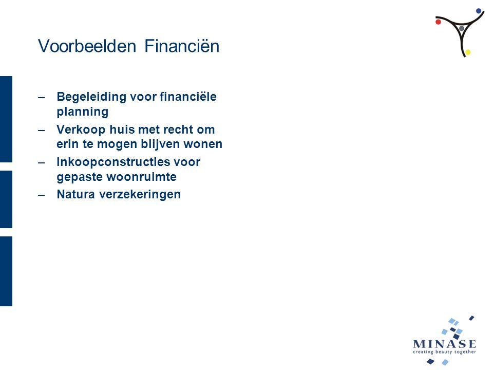 Voorbeelden Financiën –Begeleiding voor financiële planning –Verkoop huis met recht om erin te mogen blijven wonen –Inkoopconstructies voor gepaste woonruimte –Natura verzekeringen
