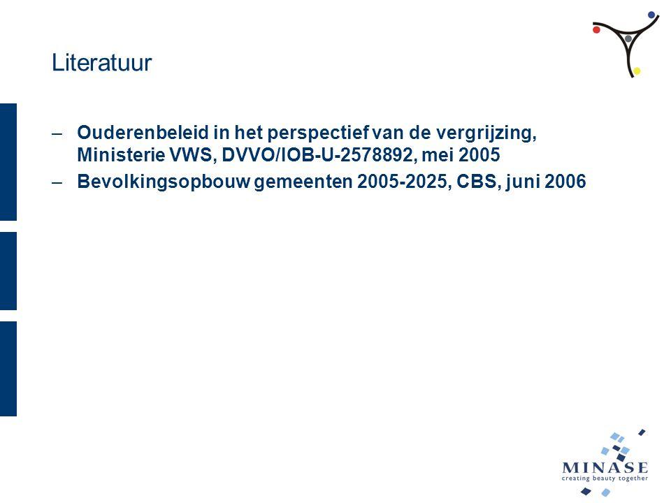 Literatuur –Ouderenbeleid in het perspectief van de vergrijzing, Ministerie VWS, DVVO/IOB-U-2578892, mei 2005 –Bevolkingsopbouw gemeenten 2005-2025, CBS, juni 2006