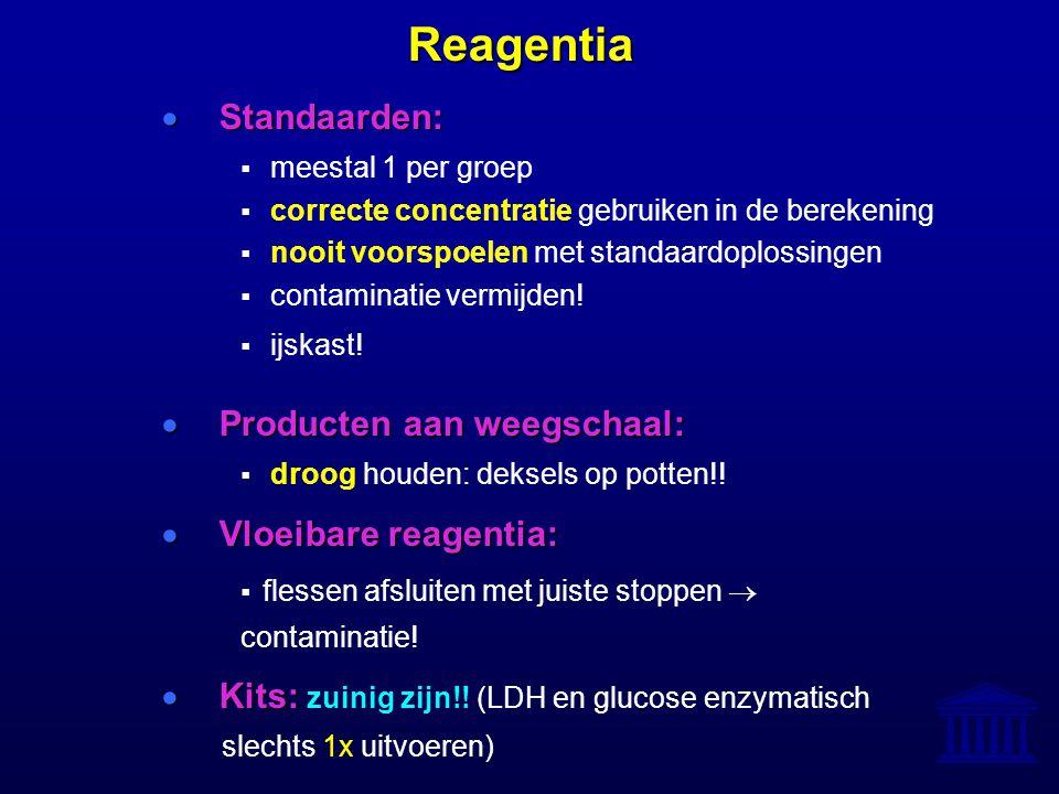 Reagentia  Standaarden:  meestal 1 per groep  correcte concentratie gebruiken in de berekening  nooit voorspoelen met standaardoplossingen  conta