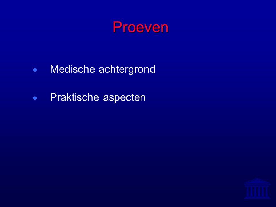 Proeven  Medische achtergrond  Praktische aspecten