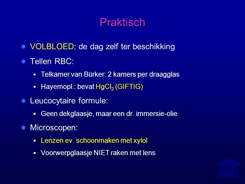 Praktisch VOLBLOED: de dag zelf ter beschikking Tellen RBC:  Telkamer van Bürker: 2 kamers per draagglas  Hayemopl.: bevat HgCl 2 (GIFTIG) Leucocyta