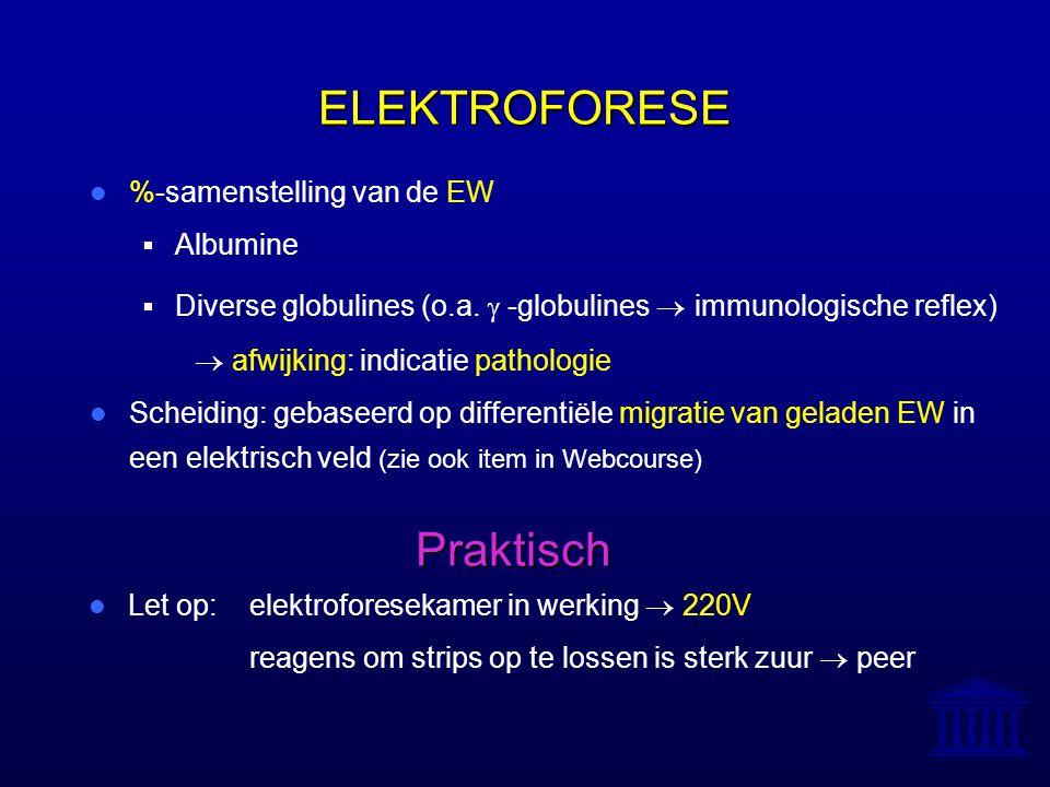 ELEKTROFORESE %-samenstelling van de EW  Albumine  Diverse globulines (o.a.  -globulines  immunologische reflex)  afwijking: indicatie pathologi