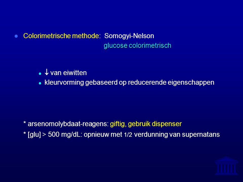 Colorimetrische methode: Somogyi-Nelson glucose colorimetrisch  van eiwitten kleurvorming gebaseerd op reducerende eigenschappen * arsenomolybdaat-re