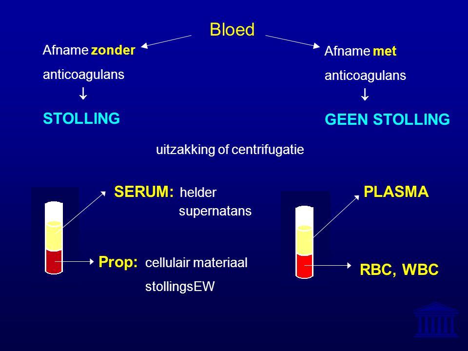 Bloed Afname met anticoagulans  GEEN STOLLING Afname zonder anticoagulans  STOLLING uitzakking of centrifugatie RBC, WBC PLASMA Prop: cellulair mate