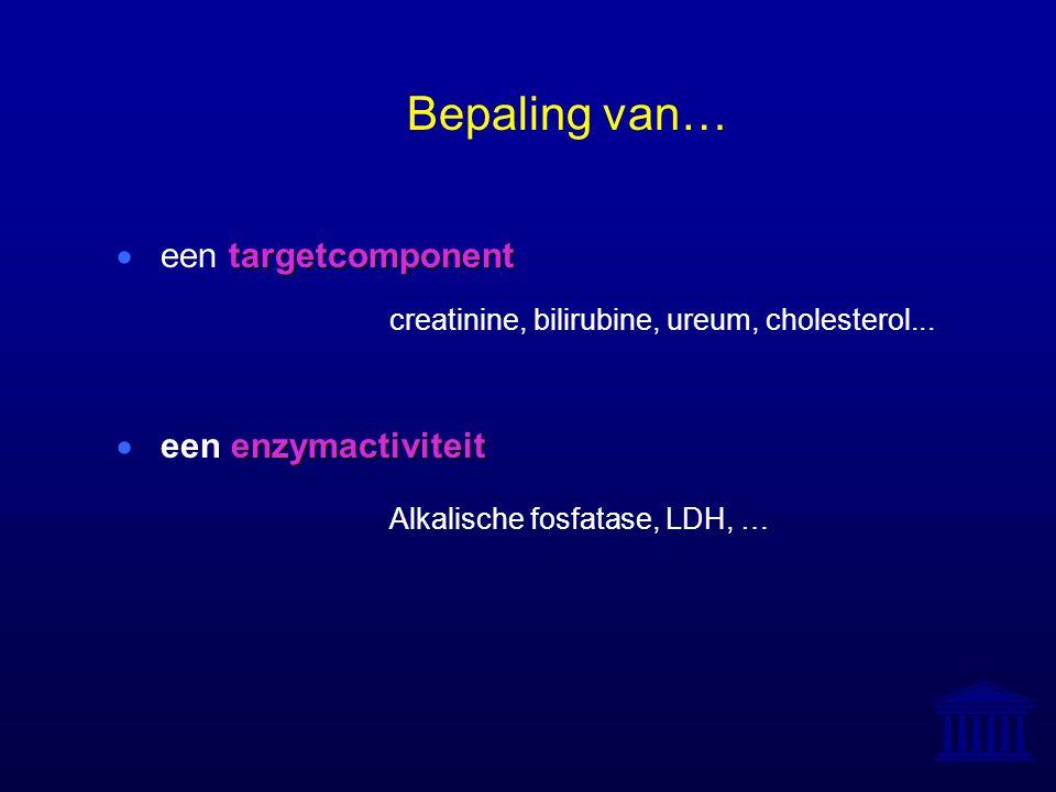 Bepaling van… targetcomponent  een targetcomponent creatinine, bilirubine, ureum, cholesterol... enzymactiviteit  een enzymactiviteit Alkalische fos