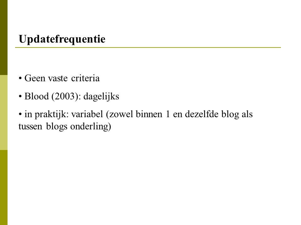 Geen vaste criteria Blood (2003): dagelijks in praktijk: variabel (zowel binnen 1 en dezelfde blog als tussen blogs onderling) Updatefrequentie
