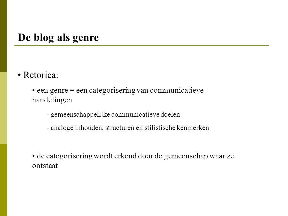 De blog als genre Retorica: een genre = een categorisering van communicatieve handelingen - gemeenschappelijke communicatieve doelen - analoge inhoude