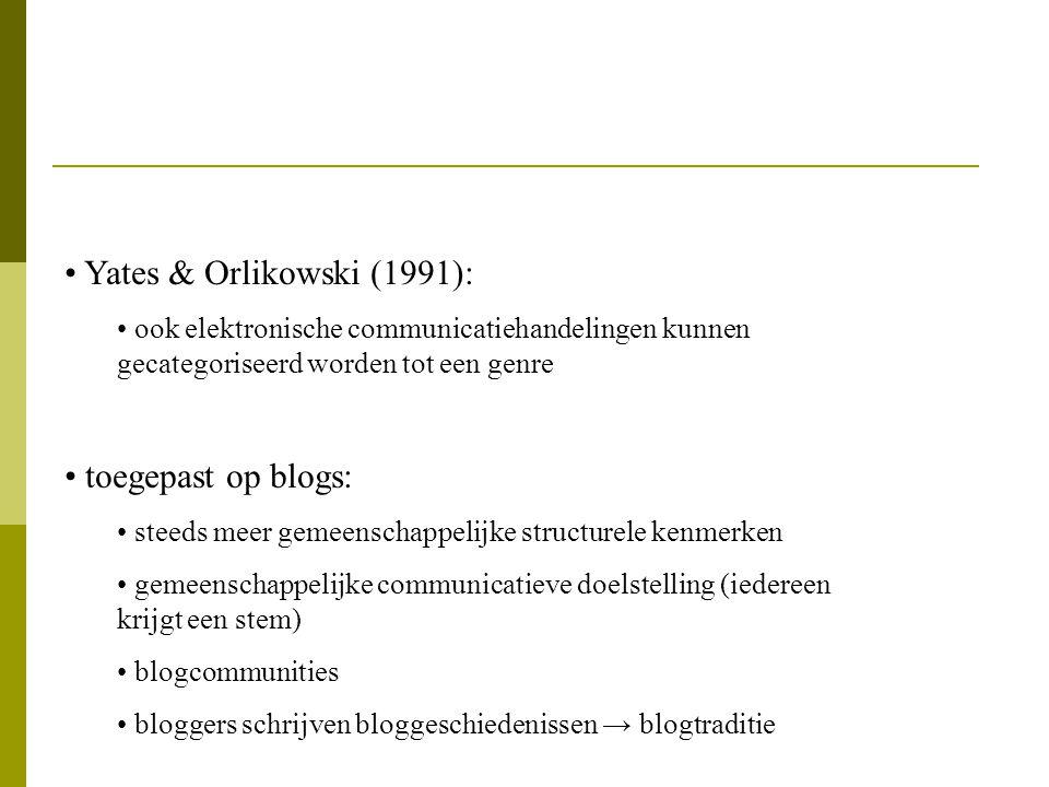 Yates & Orlikowski (1991): ook elektronische communicatiehandelingen kunnen gecategoriseerd worden tot een genre toegepast op blogs: steeds meer gemee