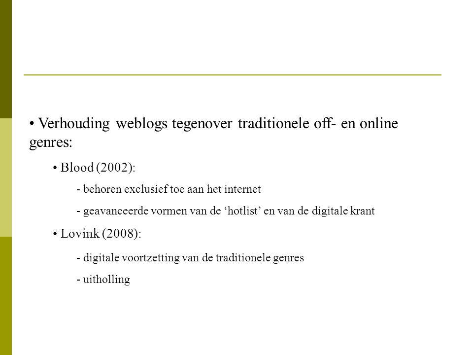 Verhouding weblogs tegenover traditionele off- en online genres: Blood (2002): - behoren exclusief toe aan het internet - geavanceerde vormen van de '