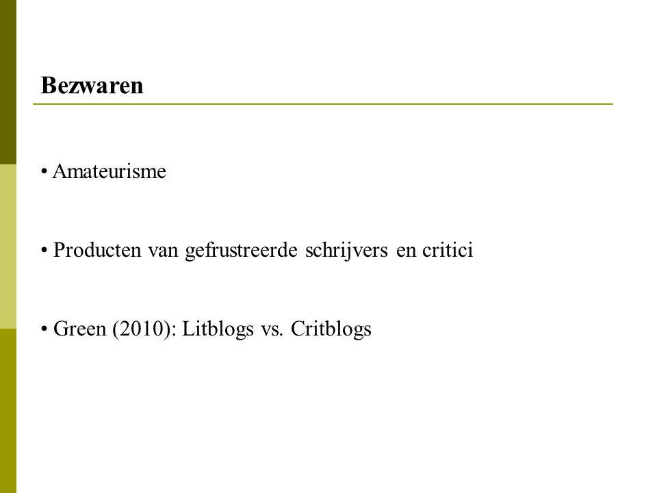 Amateurisme Producten van gefrustreerde schrijvers en critici Green (2010): Litblogs vs. Critblogs Bezwaren