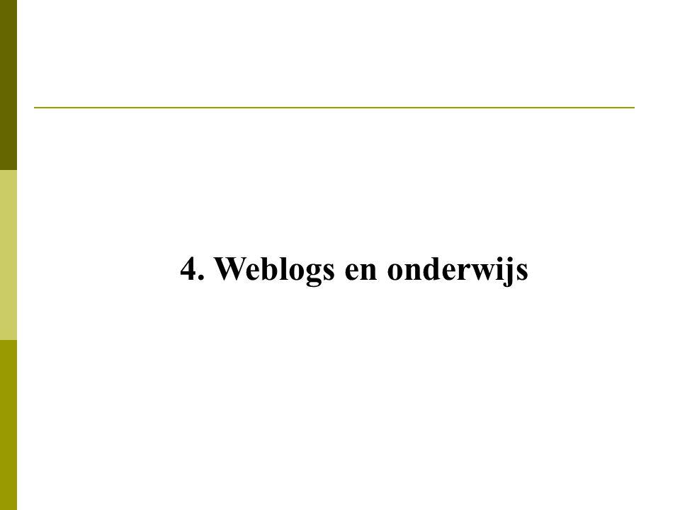 4. Weblogs en onderwijs