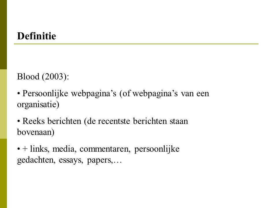 Definitie Blood (2003): Persoonlijke webpagina's (of webpagina's van een organisatie) Reeks berichten (de recentste berichten staan bovenaan) + links,
