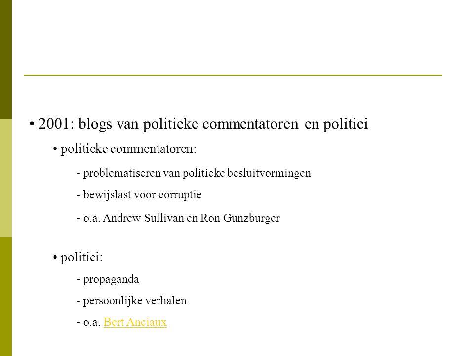 2001: blogs van politieke commentatoren en politici politieke commentatoren: - problematiseren van politieke besluitvormingen - bewijslast voor corrup