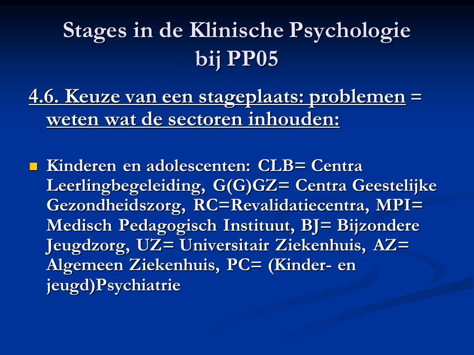 Stages in de Klinische Psychologie bij PP05 4.6. Keuze van een stageplaats: problemen = weten wat de sectoren inhouden: Kinderen en adolescenten: CLB=