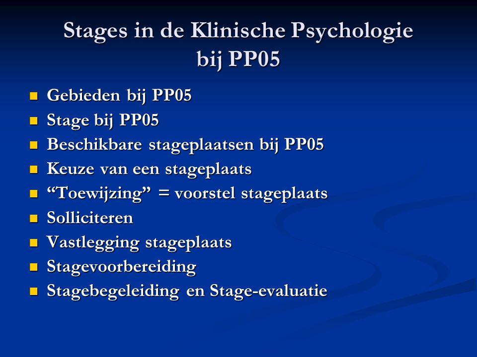 Stages in de Klinische Psychologie bij PP05 Gebieden bij PP05 Gebieden bij PP05 Stage bij PP05 Stage bij PP05 Beschikbare stageplaatsen bij PP05 Besch