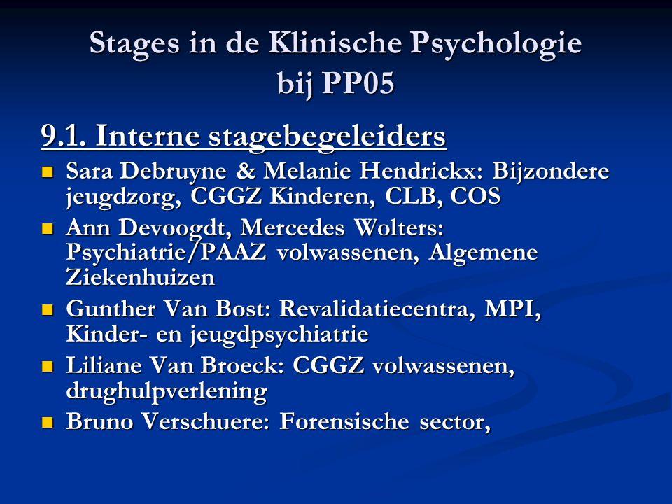 Stages in de Klinische Psychologie bij PP05 9.1. Interne stagebegeleiders Sara Debruyne & Melanie Hendrickx: Bijzondere jeugdzorg, CGGZ Kinderen, CLB,