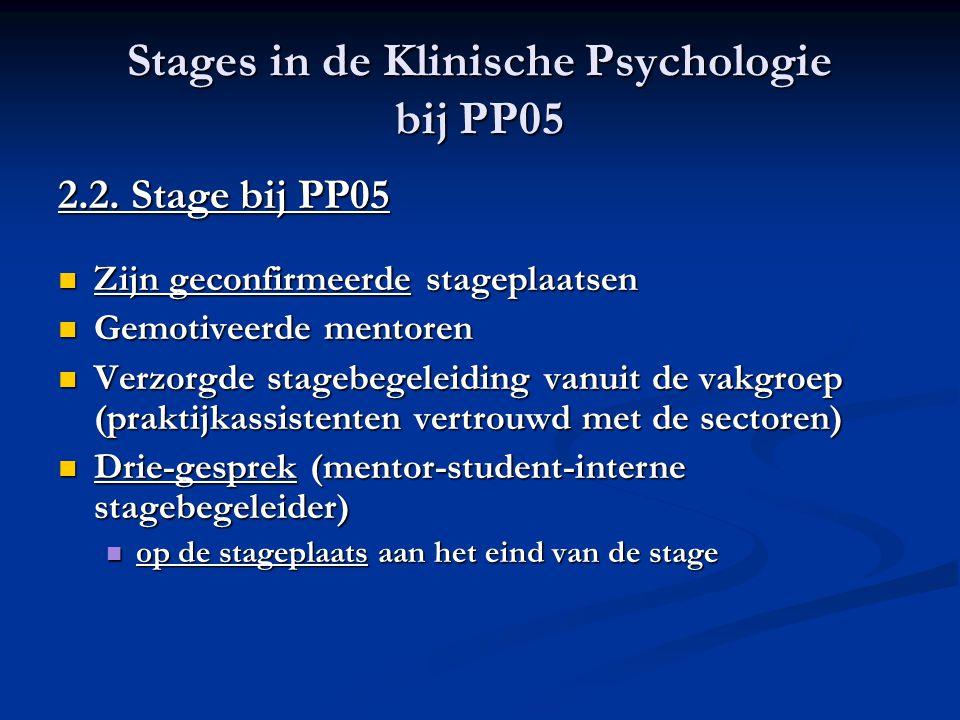 Stages in de Klinische Psychologie bij PP05 2.2. Stage bij PP05 Zijn geconfirmeerde stageplaatsen Zijn geconfirmeerde stageplaatsen Gemotiveerde mento