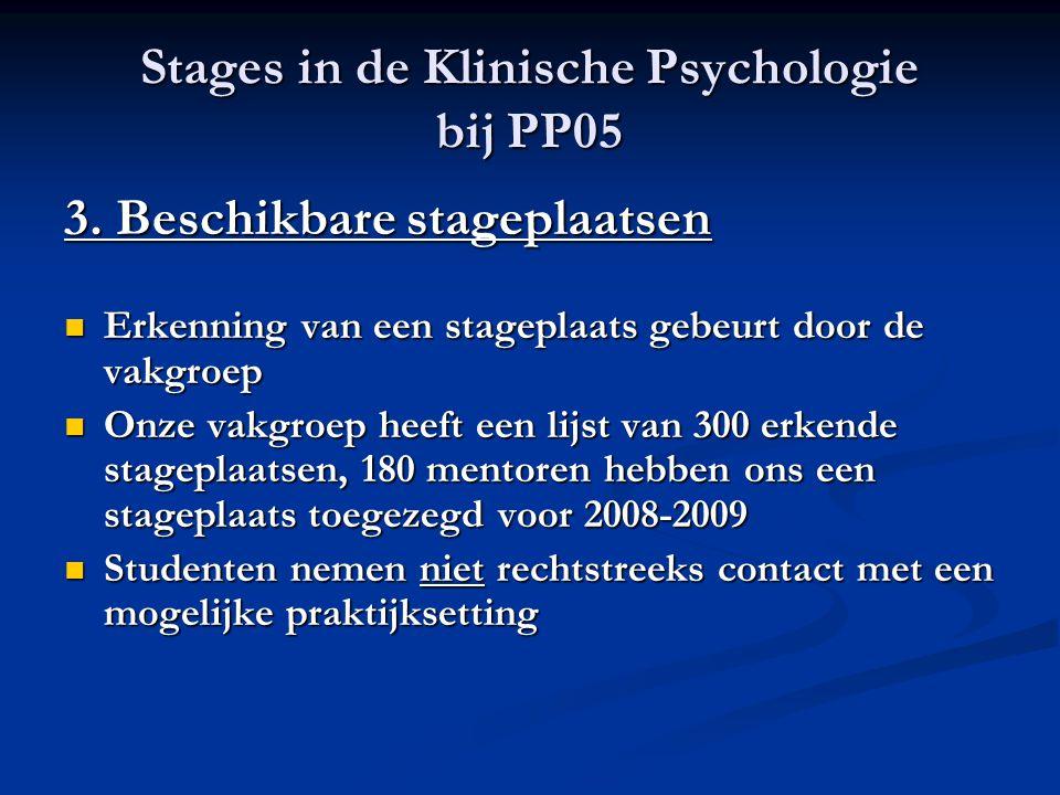 Stages in de Klinische Psychologie bij PP05 3. Beschikbare stageplaatsen Erkenning van een stageplaats gebeurt door de vakgroep Erkenning van een stag