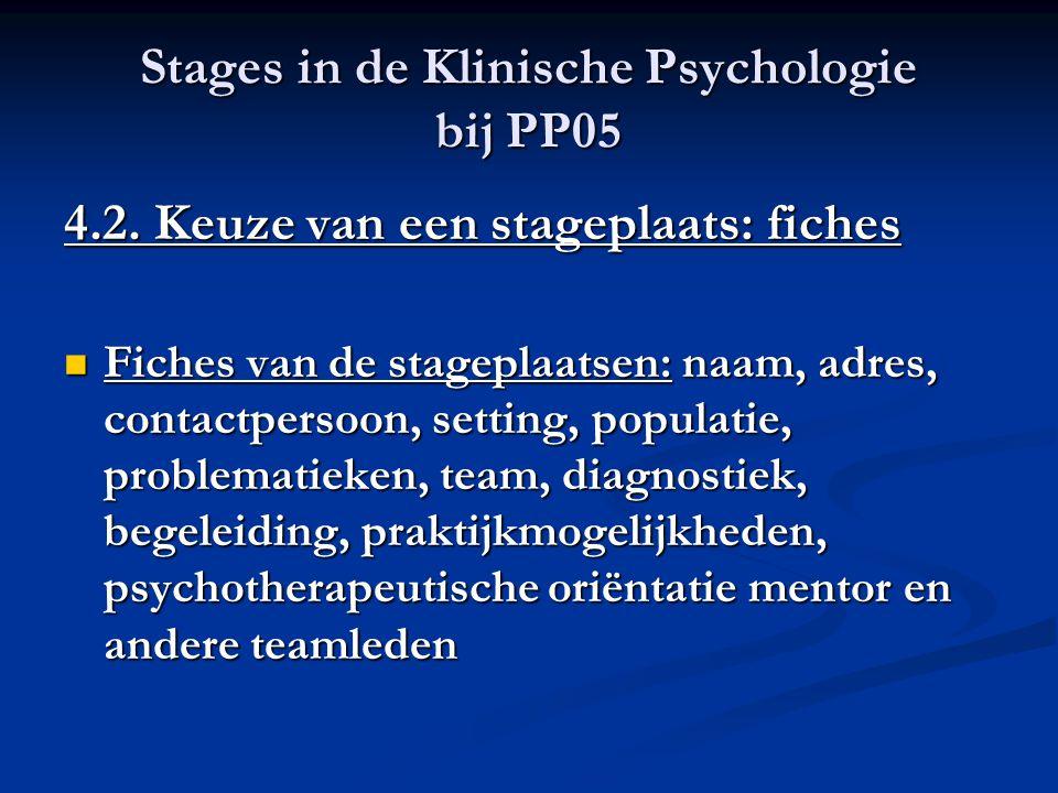 Stages in de Klinische Psychologie bij PP05 4.2. Keuze van een stageplaats: fiches Fiches van de stageplaatsen: naam, adres, contactpersoon, setting,