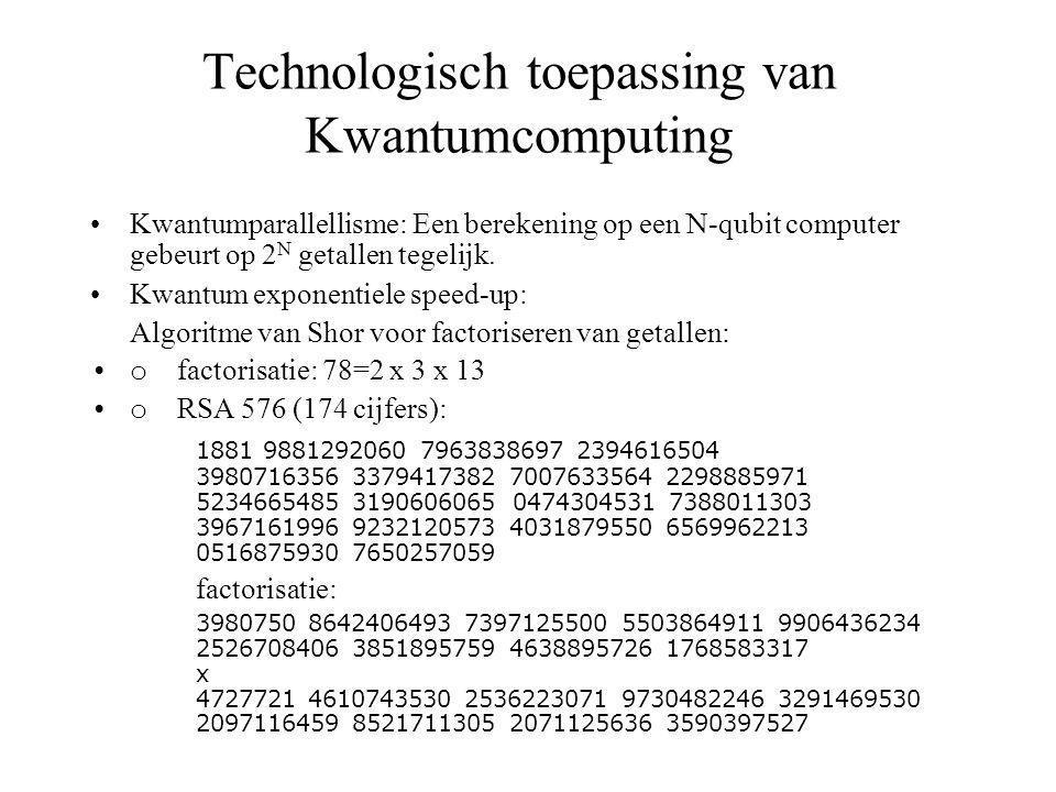 Technologisch toepassing van Kwantumcomputing Kwantumparallellisme: Een berekening op een N-qubit computer gebeurt op 2 N getallen tegelijk.