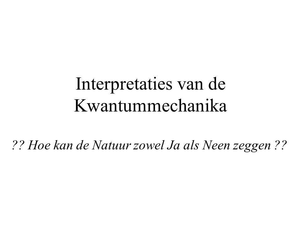 Interpretaties van de Kwantummechanika ?? Hoe kan de Natuur zowel Ja als Neen zeggen ??
