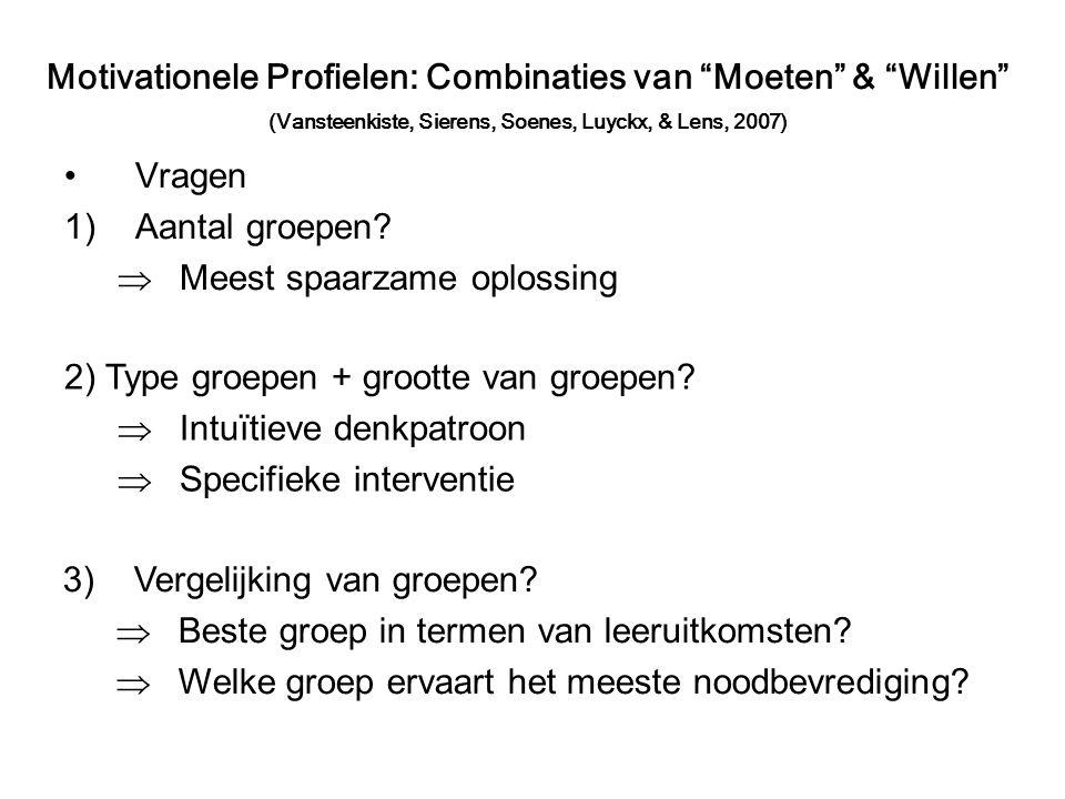 Vragen 1)Aantal groepen. Meest spaarzame oplossing 2) Type groepen + grootte van groepen.
