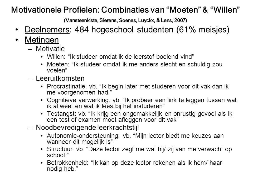 Deelnemers: 484 hogeschool studenten (61% meisjes) Metingen –Motivatie Willen: Ik studeer omdat ik de leerstof boeiend vind Moeten: Ik studeer omdat ik me anders slecht en schuldig zou voelen –Leeruitkomsten Procrastinatie; vb.