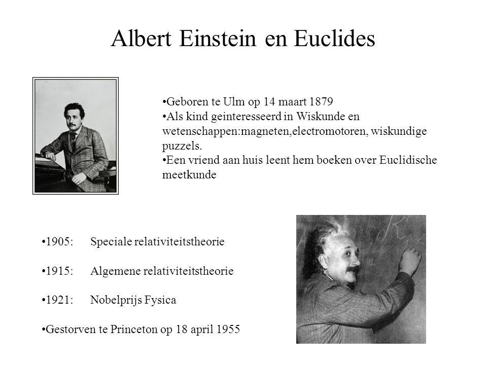 Albert Einstein en Euclides Geboren te Ulm op 14 maart 1879 Als kind geinteresseerd in Wiskunde en wetenschappen:magneten,electromotoren, wiskundige p