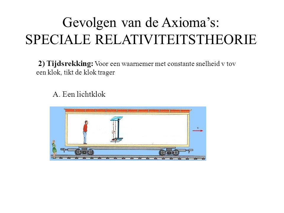 Gevolgen van de Axioma's: SPECIALE RELATIVITEITSTHEORIE 2) Tijdsrekking: Voor een waarnemer met constante snelheid v tov een klok, tikt de klok trager