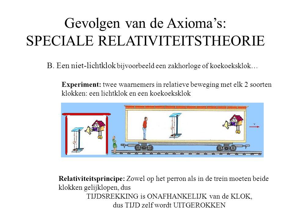 Gevolgen van de Axioma's: SPECIALE RELATIVITEITSTHEORIE B. Een niet-lichtklok bijvoorbeeld een zakhorloge of koekoeksklok… Experiment: twee waarnemers
