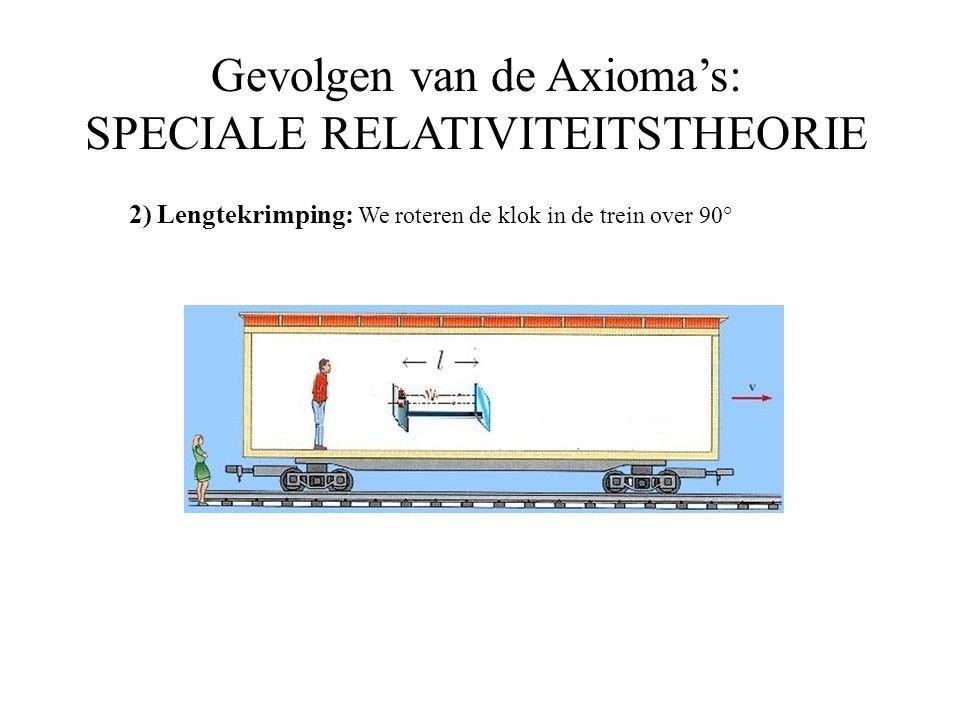 Gevolgen van de Axioma's: SPECIALE RELATIVITEITSTHEORIE 2) Lengtekrimping: We roteren de klok in de trein over 90°